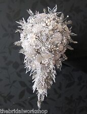 Brides Diamante Pearl Brooch Shower Bouquet Posy Wedding Flowers Sparkle