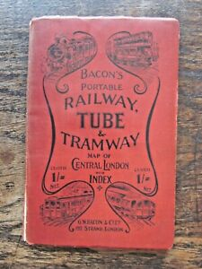 c1900 Railway Tube Tram Map London Bacon Horse Cab Strangers Guide Adverts RARE