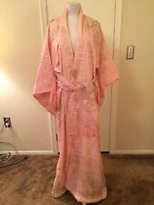 Vintage Japanese Women's Silk Embroidered Kimono Robe Lt Pink w/Belt