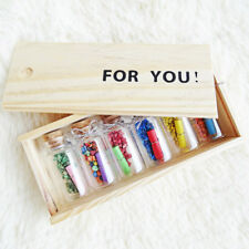 For You Wooden Box Wishing Bottle Glass Vial Jars Crafts With Colored Sand 6pcs