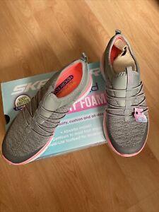 skechers ladies pink/ grey air cooled trainers