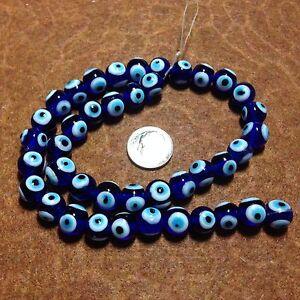 10mm Cobalt Evil Eye VTG Lampwork Glass Beads, Strand of Approximately 40 Beads