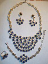 Gold plated blue Rhinestone necklace, earring, bracelet and ring set. bridal set