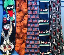 New ListingLot Of 30 Novelty Ties - Assorted Brands & Designs - Looney Tunes Tabasco Guitar