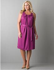 Lane Bryant Plus Size 28 4X Magenta Sleeveless Belted Origami A-line Dress NWT