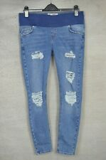 TOPSHOP Jamie Maternity blue denim ripped distressed skinny jeans 12 to fit L32