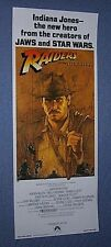 "Original INDIANA JONES RAIDERS OF THE LOST ARK 14""x 36"" Insert Poster ROLLED"