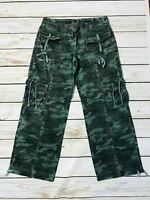 Retro Y2K Next Camo Cargo Combat Trousers Size 14 R
