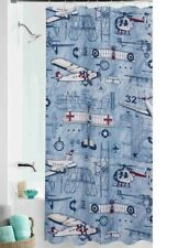 Aviator Airplane Aviation Graphics Bath Shower Curtain Red Blue White Polyester