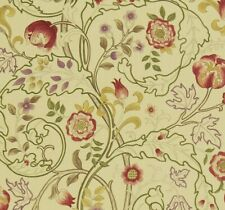 William Morris Curtain Fabric 'MARY ISOBEL' 1.1 METRES RED/GOLD 100% Linen