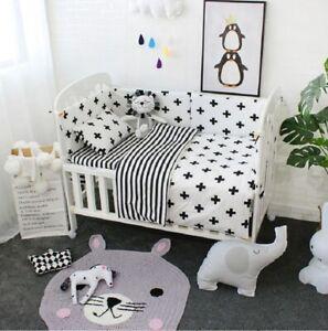 3Pcs Baby Bedding Set Cotton Crib Sets Black White Stripe Cross Pattern Baby Cot