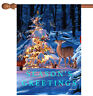 Toland Woodland Season Greetings 28 x 40 Wildlife Deer Winter Snow House Flag