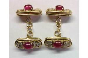 A PAIR OF 18CT YELLOW GOLD OVER, RUBY AND DIAMOND CUFFLINKS Men's Cufflinks