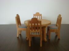 Vintage Lundby round wooden dining table and four chairs
