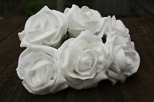 6 x PURE WHITE COLOURFAST FOAM COTTAGE OPEN ROSES 6cm WEDDING FLOWERS