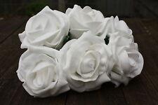 6 X Bianco Puro tridimensionale Schiuma Cottage Rose Aperto 6cm nozze fiori