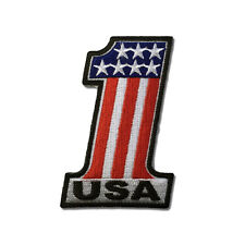 Embroidered Number 1 USA Flag and Stars Sew or Iron on Patch Biker Patch