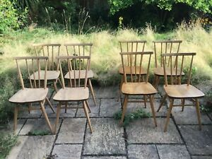 Ercol 1960 391 Stick Back Dining Mid-century Chairs 8, two sets of 4