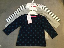 M&S SET OF 3 DRESSES BLUE/WHITE STRIPE/GREY & NAVY WITH BLUE SPOTS -3-6m BNWT