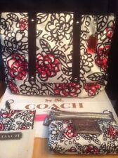 Coach 16914 Daisy Graffiti Floral Red Poppy Black Tote+Wristlet Wallet+ID Case