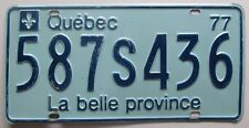 Quebec 1977 License Plate # 587S436