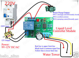 Liquid Level Controller Module Water Level Detection Sensor 9V-12V AC/DC