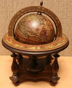 Vintage Desktop Old World Globe, Rare Early Version, Nice Details, Made In Italy