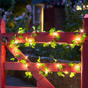 LED Solar Leaf Garland Light Outdoor Waterproof Ivy Hanging Garland Floral Decor