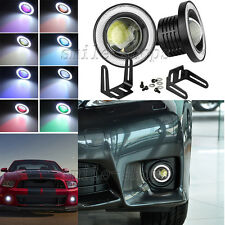 """2pc 3.5"""" RGB Fog Light COB LED Projector Angle Eye Halo Ring With Remote Control"""