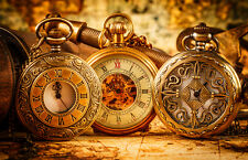 BEAUTIFUL POCKET WATCHES MAPS CANVAS PICTURE #17 STUNNING PHOTOGRAPHY A1 CANVAS