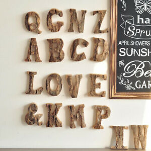 Retro Bark Wooden A-Z Letters Alphabet Cafeteria Bar Party Ornament Home DeBI