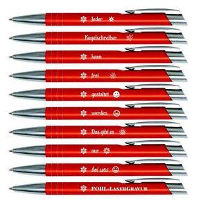10 x Kugelschreiber mit Gravur Type Mooi,  10 x frei gestaltbare Wunschgravur