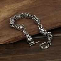"""Men's Solid 925 Sterling Silver Bracelet  Link Helmets Chain Jewelry 8.3"""""""