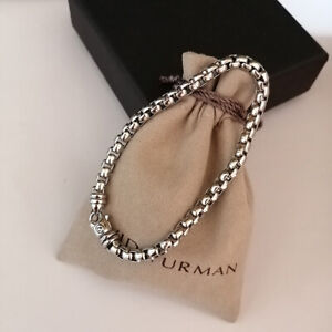 "David Yurman 5mm Box Chain Bracelet Sterling Silver 8"" Large"