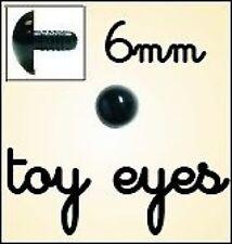 10 X de 6mm Negro Seguridad Ojos-Amigurumis Juguete Muñeca