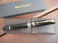 MOLTENI BLACK FOUNTAIN PEN INCLUDED LEATHER CASE FOR 2 PENS BLACK FRIDAY