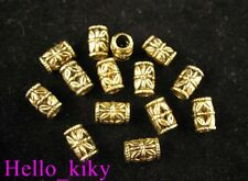 100Pcs  Antiqued gold ple ornate tube beads hole 4mm A261