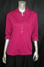 OGIO NWT Purple-Pink Stretch Knit 3/4 Sleeve Henley Button Collared Shirt sz M