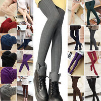 Womens Winter Warm Stretch Plain Skinny Thick Tights Footed Cotton Long Stocking