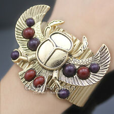 Vintage Gold Egyptian khepri Scarab Bead Wing Bracelet Bangle Cuff Fancy Dress