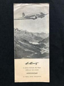 ST MORITZ SWITZERLAND RARE AIRLINE BROCHURE, 1947 Douglas DC-3 Swissair Airplane