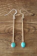 Navajo Indian Jewelry Sterling Silver Turquoise Bar Dangle Earrings!