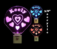Girls Personalized Handmade LED Night Light with Hearts, Kids lamp, Love