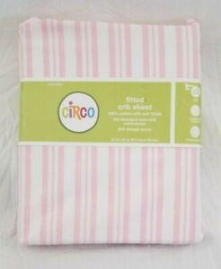 Circo Stripe Pink & White 100% Cotton Fitted Crib Sheet NIP