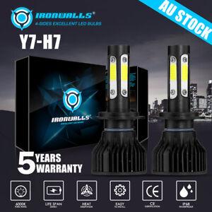 4 Sides H7 LED Headlight Light Bulbs pk HID Halogen 200W 24000LM 6K White Globes