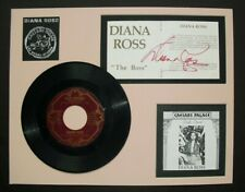 DIANA ROSS signature, matted with record & clippings, with COA