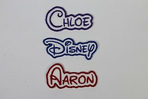 Personalised Embroidered Name Patch DISNEY - Iron or sew on *FREE POST*