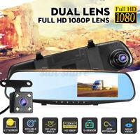 4.3'' inch Dual Lens HD 1080P Car DVR Dash Cam Rear View Mirror Camera   ~.