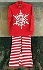 CWD Kids Red White Jeweled Snowflake Top & Stripe Pant Set Girls 6X READ Flaw!