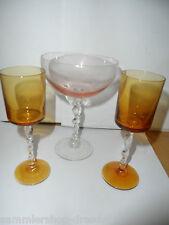 23951 2x Likörglas + Sektglas Rosalin Gelb mundgebl gedrehter Fuß Art Nouveau
